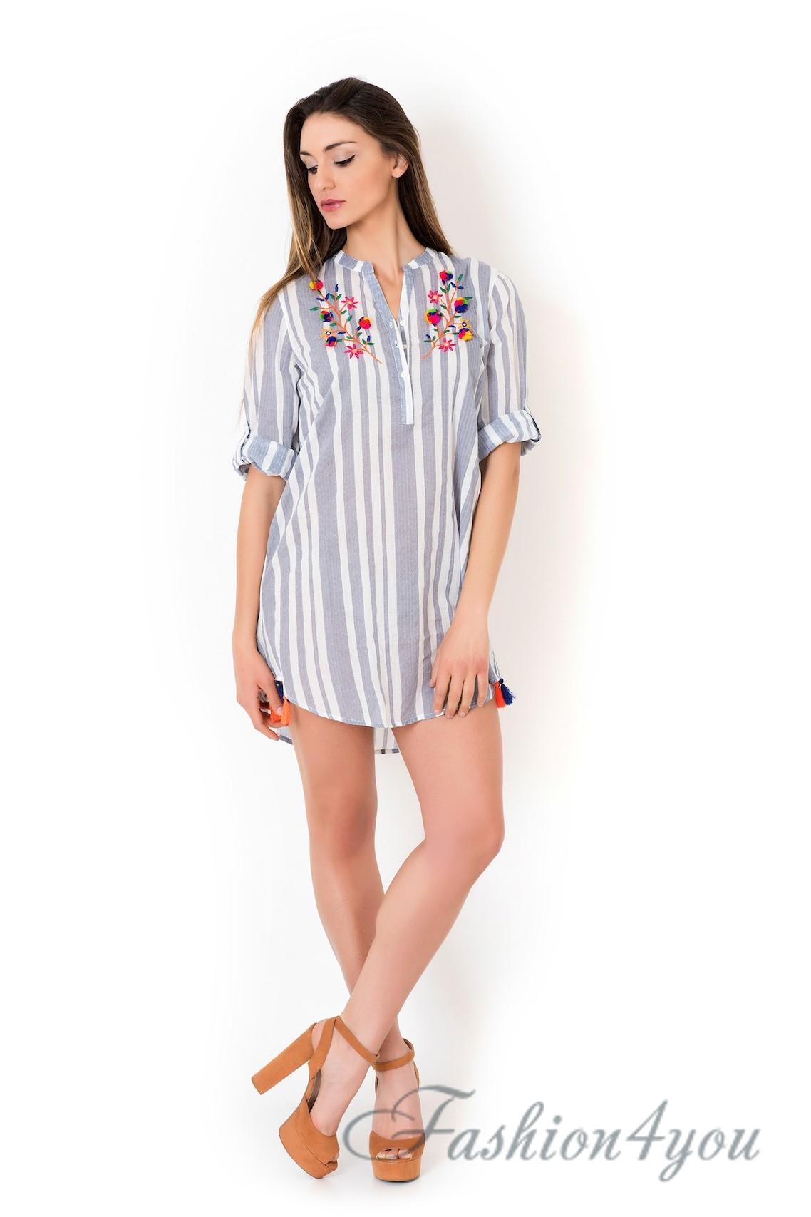 437a2c6d100 Пляжная туника рубашка в мелкую полоску из хлопка Iconique IC8-067 - фото №1