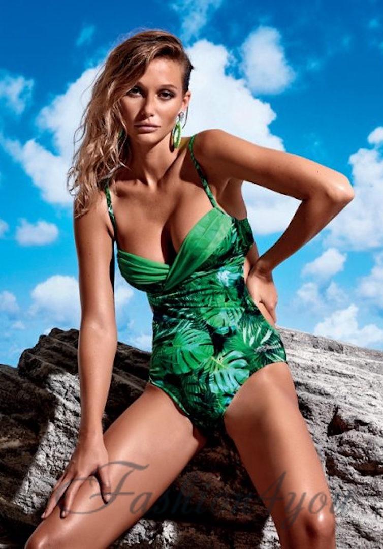 02e6e99c27f3d Слитный зеленый купальник, лифчик с плотной чашкой Miss Marea 18403 - фото  №1