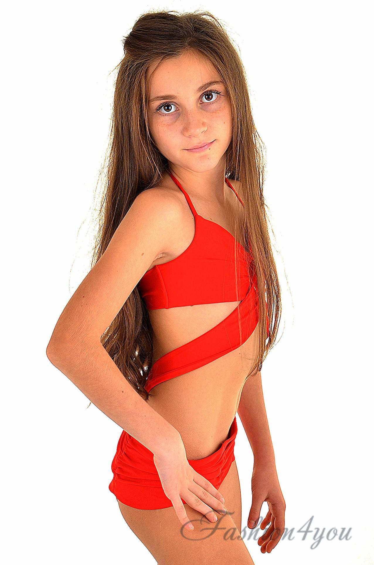 abf2df66d9673 Красный плавательный костюм для детей BAEL Американка 5514 - фото №2