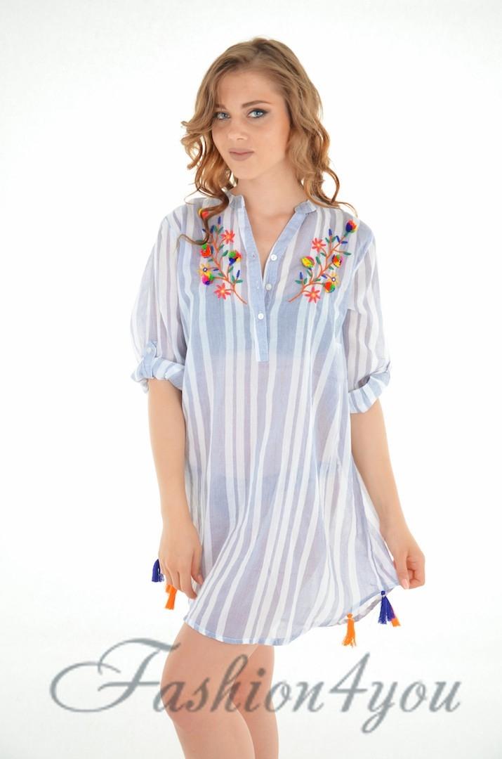 16a283732ed Пляжная туника рубашка в мелкую полоску из хлопка Iconique IC8-067 - фото №4