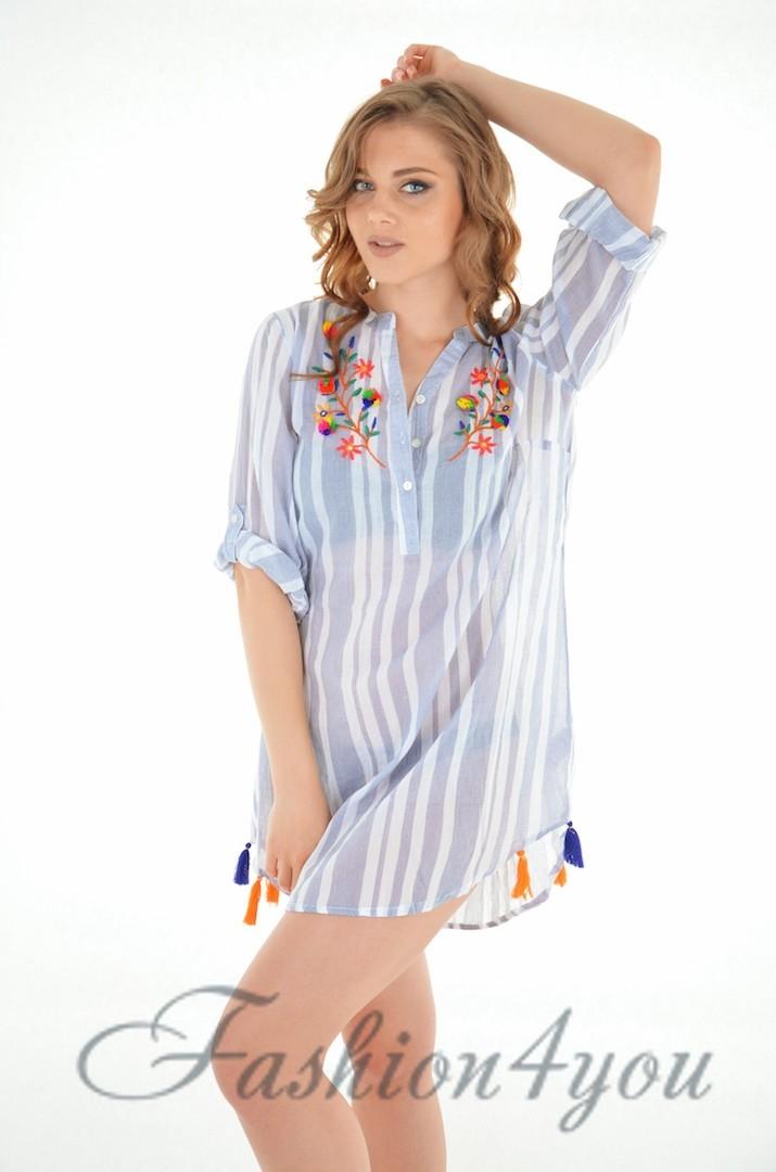 68d3941b01f Пляжная туника рубашка в мелкую полоску из хлопка Iconique IC8-067 - фото №5