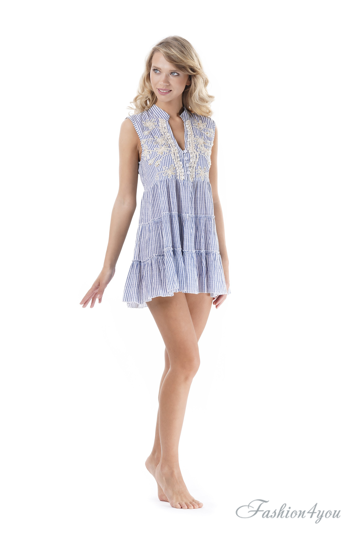 56ee5c1be9fb1 Полосатое пляжное платье мини, с вышивкой Iconique IC9-059 - фото №2