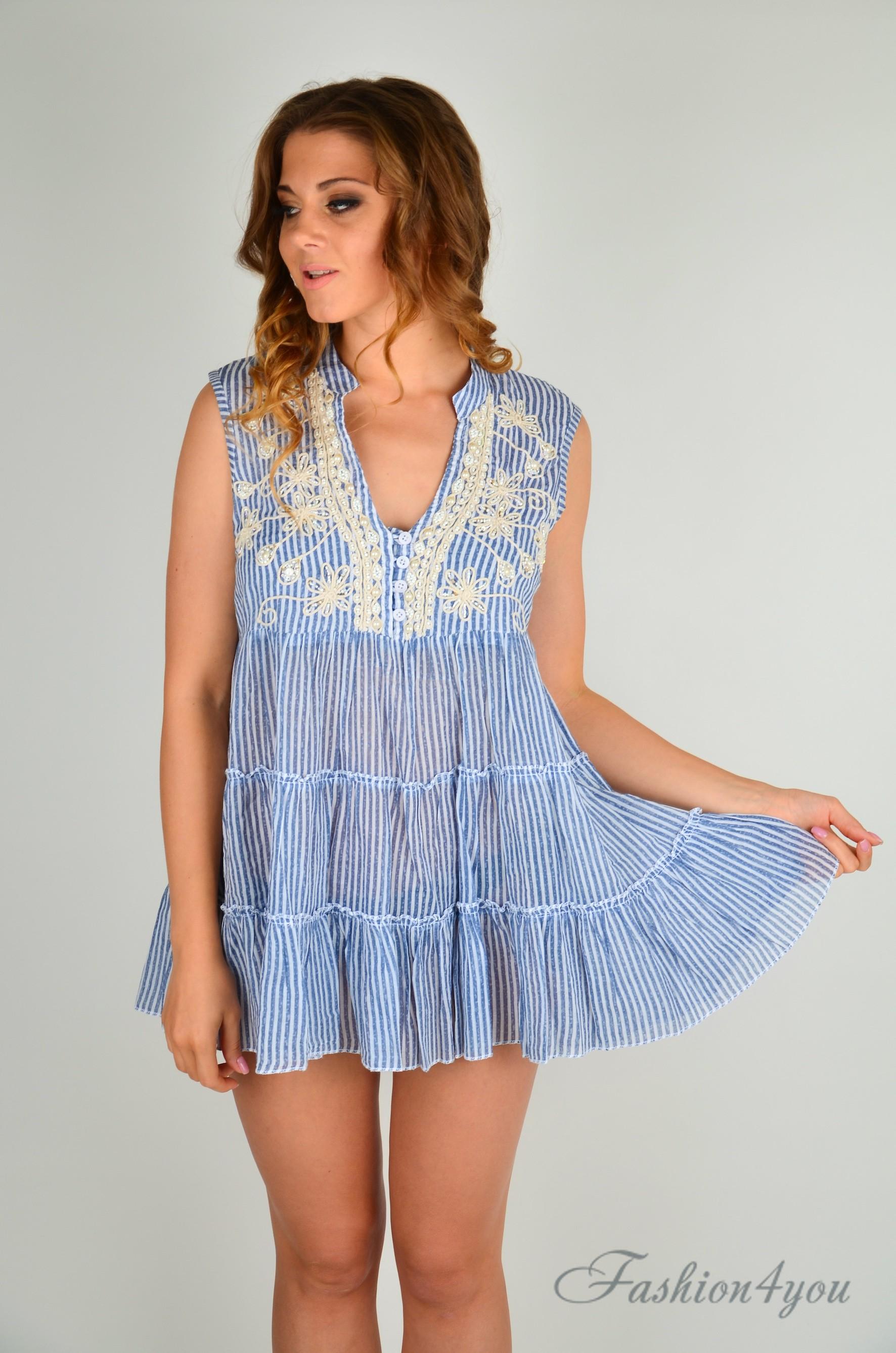 cb9c5c3a3ad3d Полосатое пляжное платье мини, с вышивкой Iconique IC9-059 - фото №3