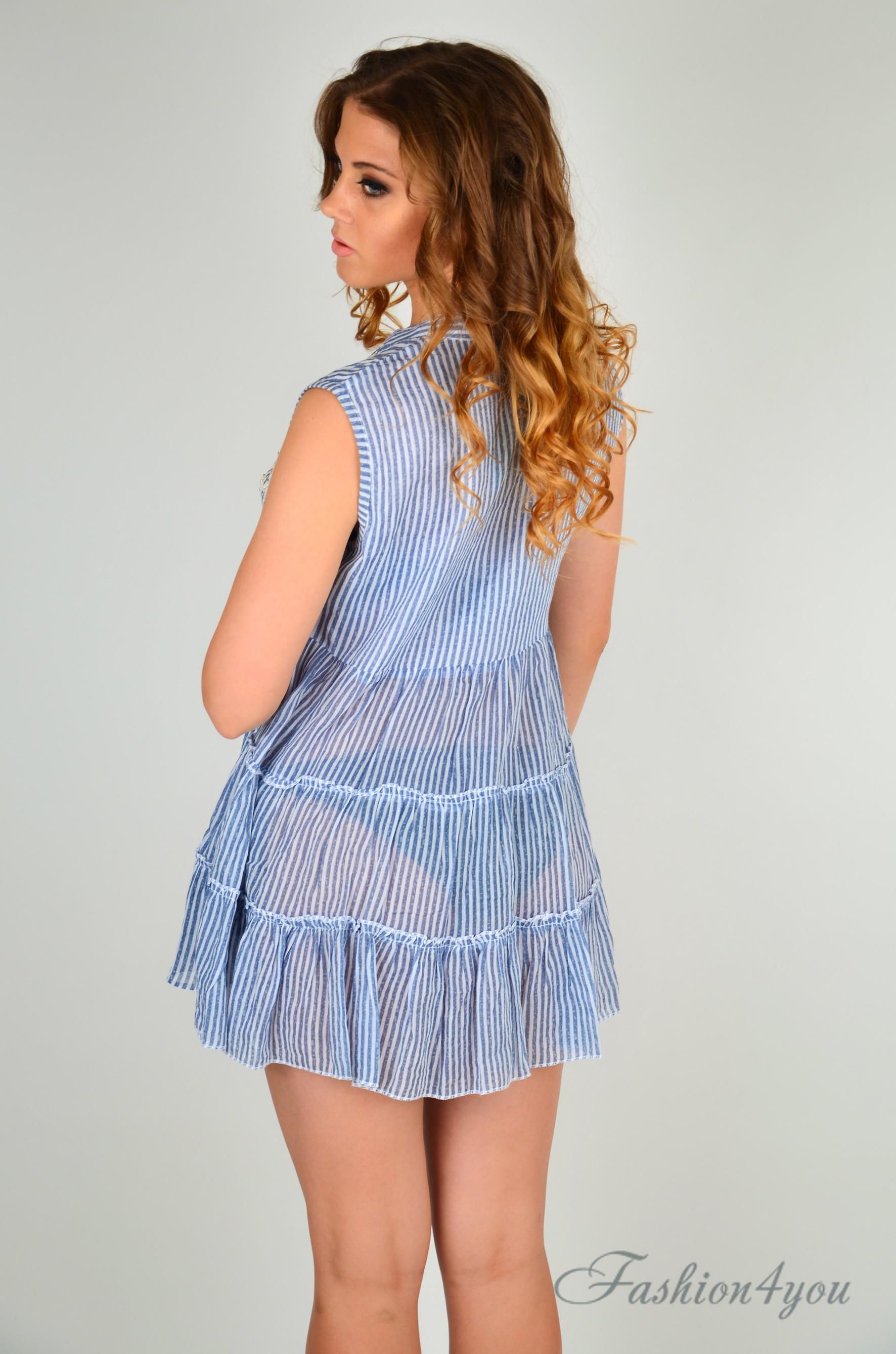 9f9bd498e3ec8 Полосатое пляжное платье мини, с вышивкой Iconique IC9-059 - фото №5