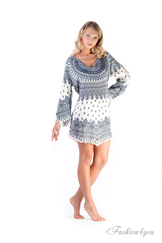 836959f4c4d3242 Короткое пляжное платье белого цвета с рукавом 3/4 Vacanze Italiane ...