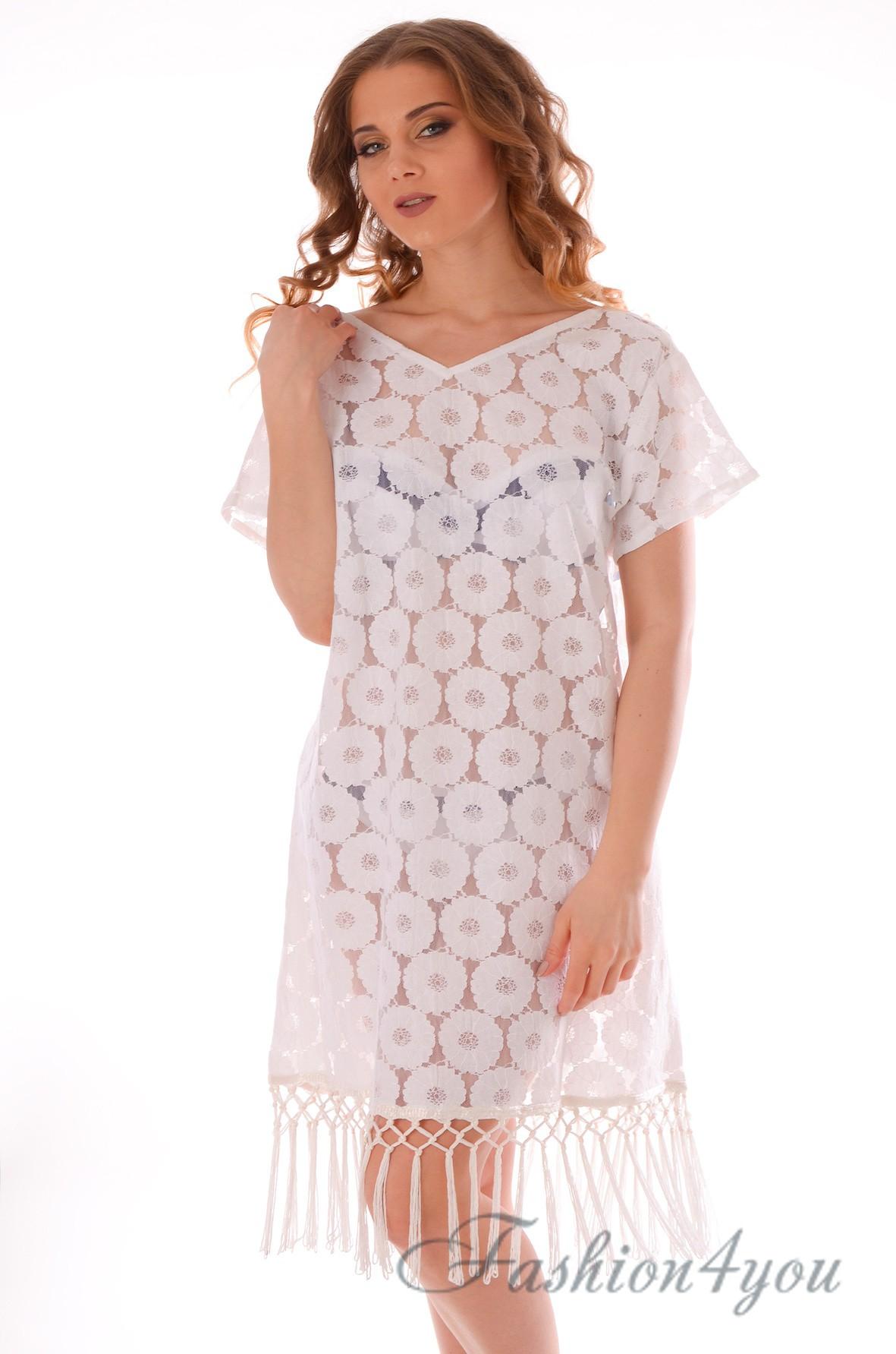 b864378d1ae70ee Кружевное пляжное платье с рукавами, белого цвета Iconique IC9-017