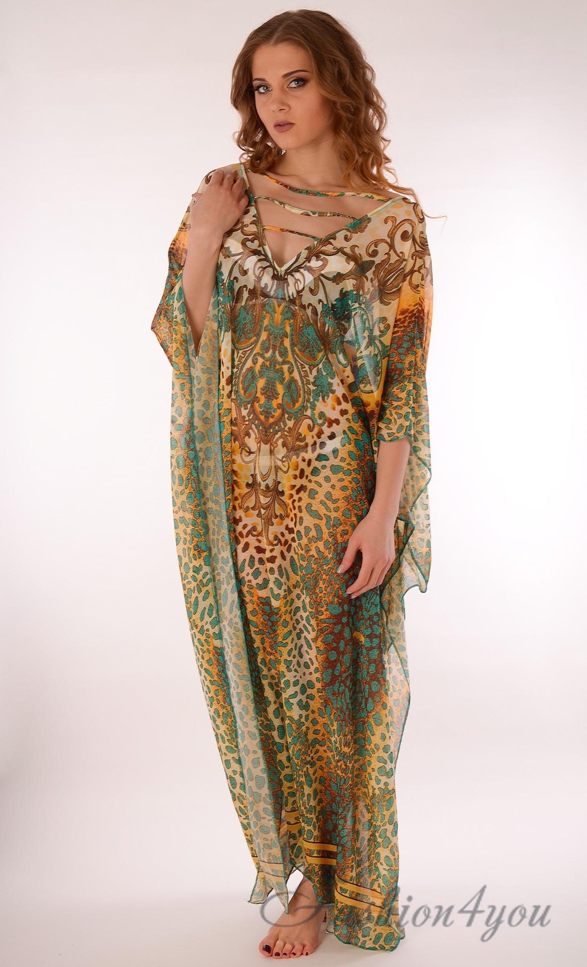 7b6744ce97b21 Длинное пляжное платье для беременных с ярким принтом Argento 2083-1203